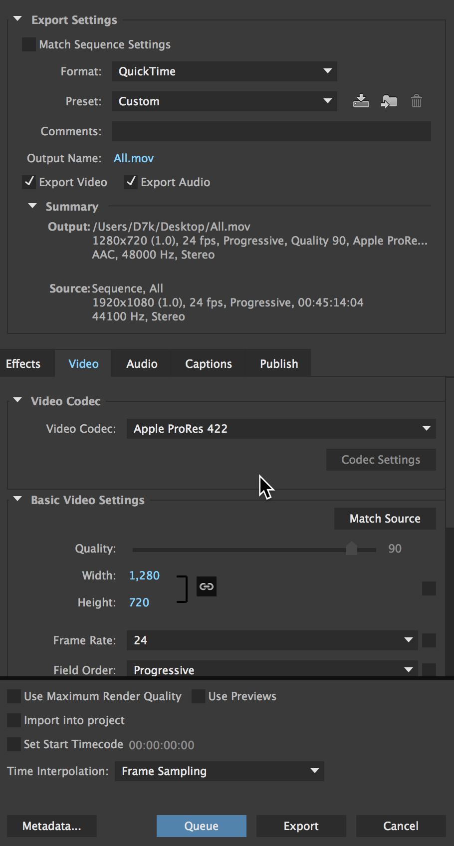 How to export to Prores in Adobe Premiere Pro CC for