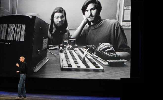 Jobs presents in front of 'Steve and Woz, 1976'