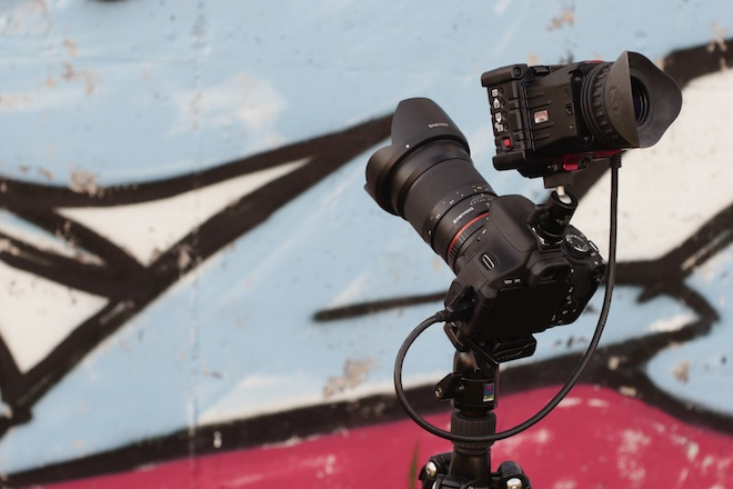 Shooting with the Zacuto EVF Flip and Samyang 35mm F1.4