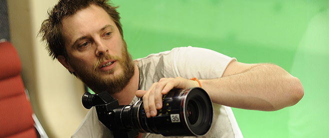Duncan Jones on the set of Source Code