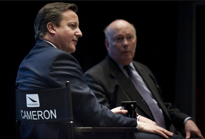 David Cameron sits in a directors chair at Pinewood - which they can reuse when a more worthy man named James visits