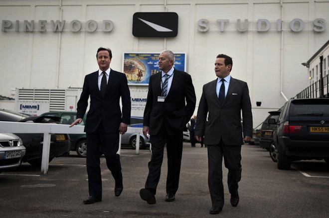 David Cameron visits Pinewood Studios in England