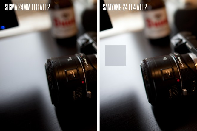 Samyang 24mm F1.4 exposure at F2 versus Sigma 24mm F1.8 at F2