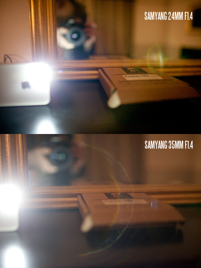 Samyang 24mm vs 35mm flare