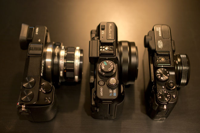 NEX 7, G1 X and Fuji X10 for size
