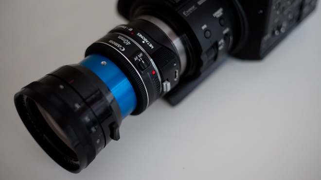 Canon EF 40mm on the FS100 with Metabones E mount adapter