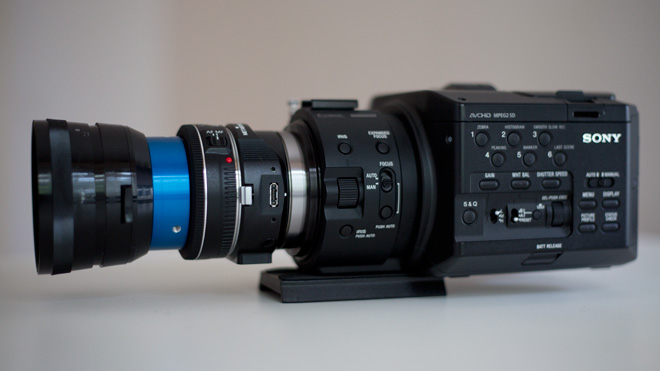 Canon pancake on the FS100 with Metabones adapter