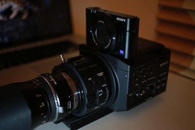 Sony RX100 gets a piggy back on the NXCAM FS100
