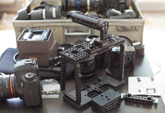 Wooden Camera cage for the Blackmagic Cinema Camera