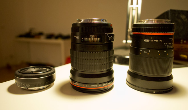 Canon 135mm F2L size comparison
