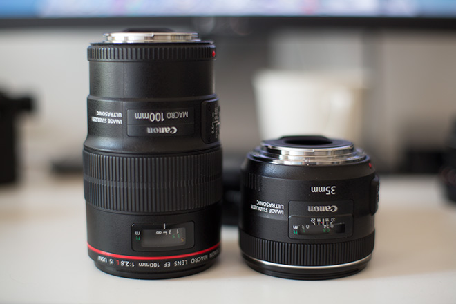 Canon 100mm F2.8L and 35mm F2.0L
