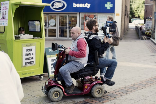 Shane Meadows - Jake Bugg shoot on Blackmagic - mobility scooter