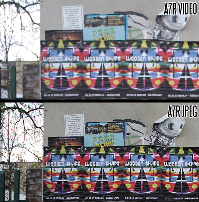 Sony A7R 1080p video vs JPEG still