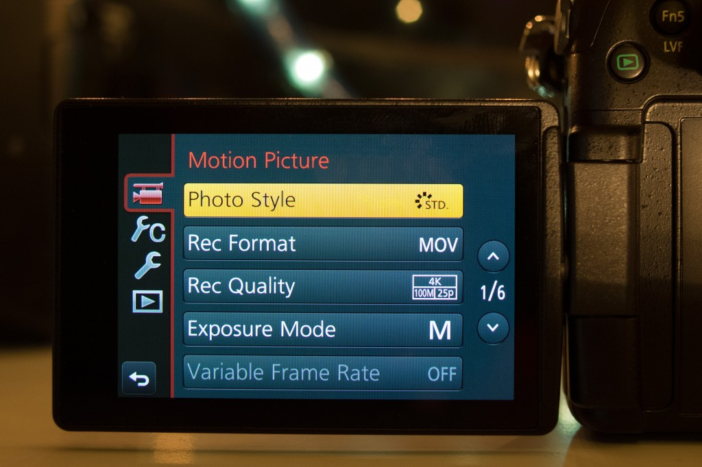 GH4 video settings menu