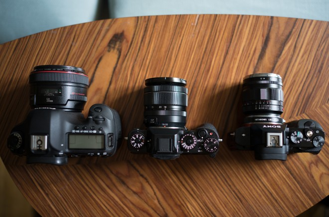 From left to right: 5D Mark III, Fuji X-T1 and Sony A7S