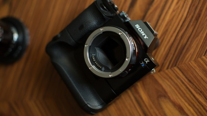 Sony A7S with vertical grip and Metabones Smart EF adapter
