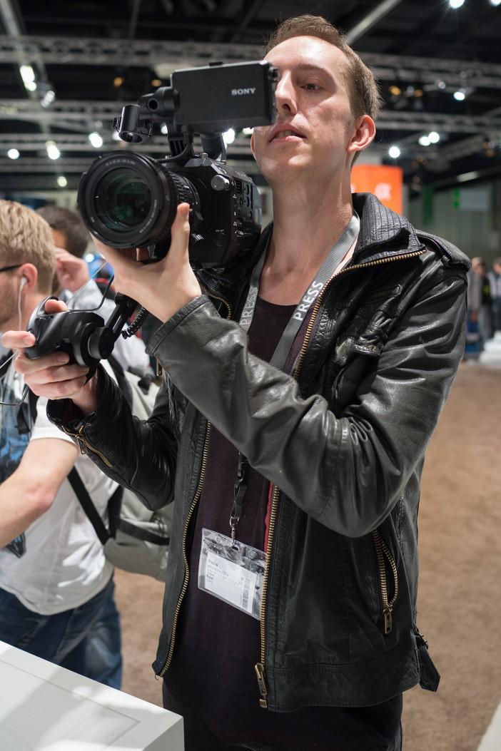 Sony FS7 on shoulder
