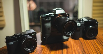 Sony A7S (middle) with Panasonic LX100 (left) and GH4 (right)
