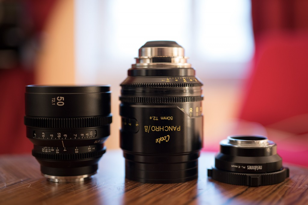 Left to right: SLR Magic APO Hyperprime CINE 50mm T2.1, Cooke S4i MINI 50mm T2.8, and the new Metabones PL to Sony E-Mount adapter