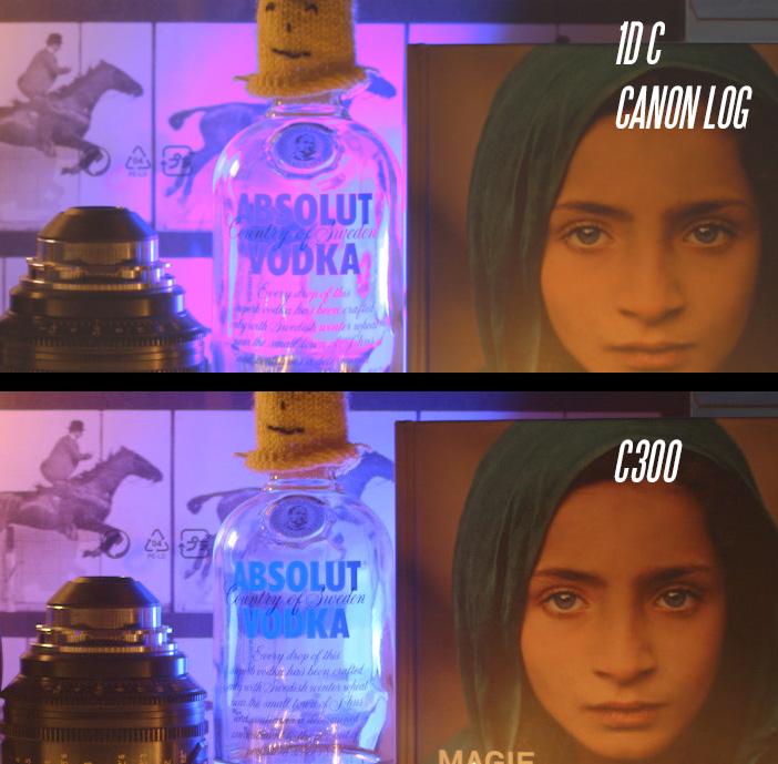 Canon 1D C vs C300 - blue highlight handling in Canon LOG