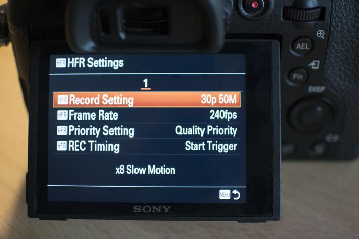 RX10 M2 HFR menu