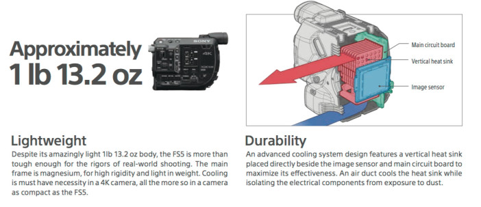 Sony FS5 size and weight