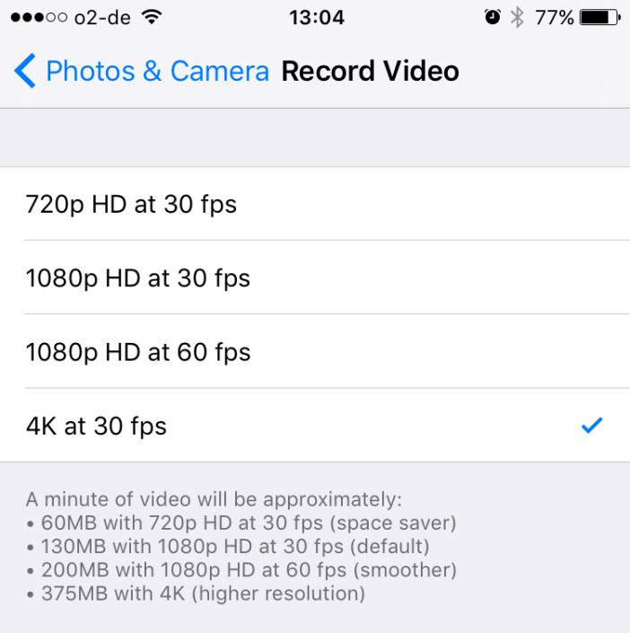 iPhone 6S 4K video setting