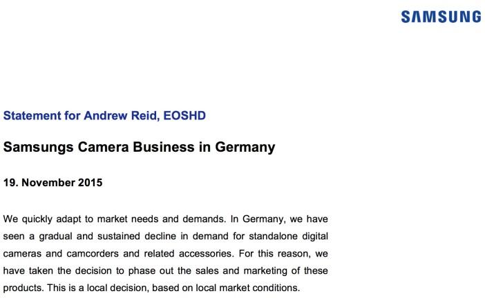 Above: Samsung's official statement to EOSHD regarding German camera market