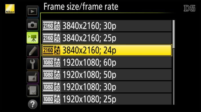Nikon D5 frame rates
