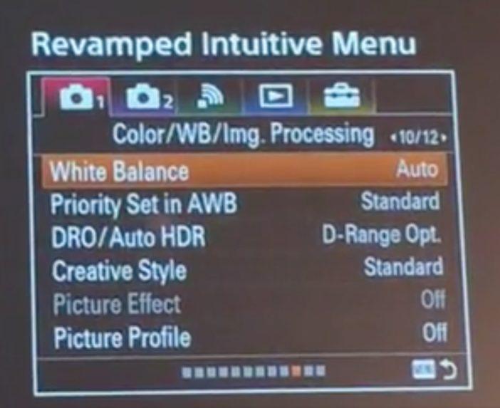 Sony 2016 new menus