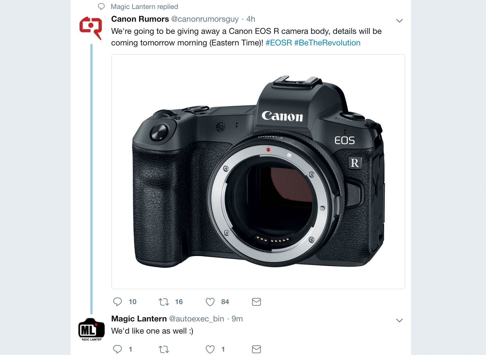 Apparently Canon Rumors is giving away an EOS R - Now let's