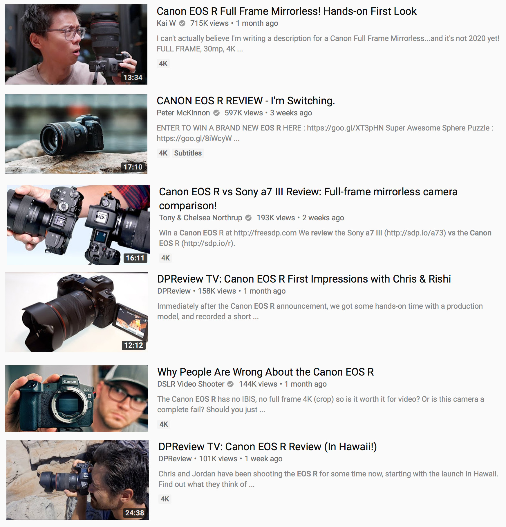 Top 6 videos on EOS R with combined 2 million views and not a single ...